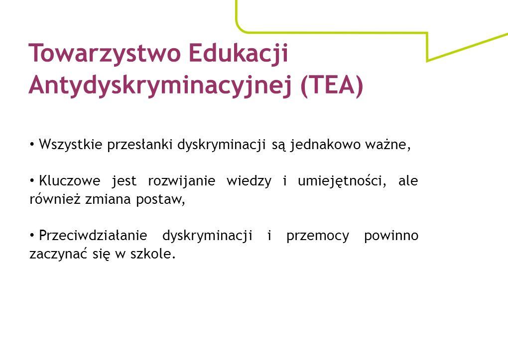 Towarzystwo Edukacji Antydyskryminacyjnej (TEA) Wszystkie przesłanki dyskryminacji są jednakowo ważne, Kluczowe jest rozwijanie wiedzy i umiejętności,