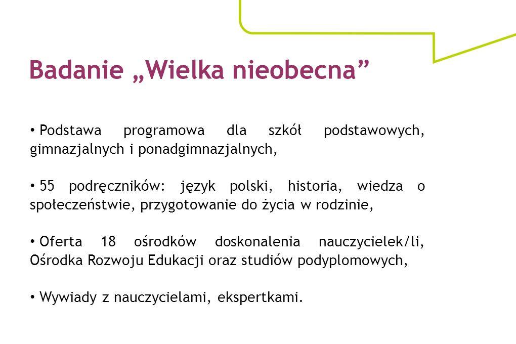 Badanie Wielka nieobecna Podstawa programowa dla szkół podstawowych, gimnazjalnych i ponadgimnazjalnych, 55 podręczników: język polski, historia, wied