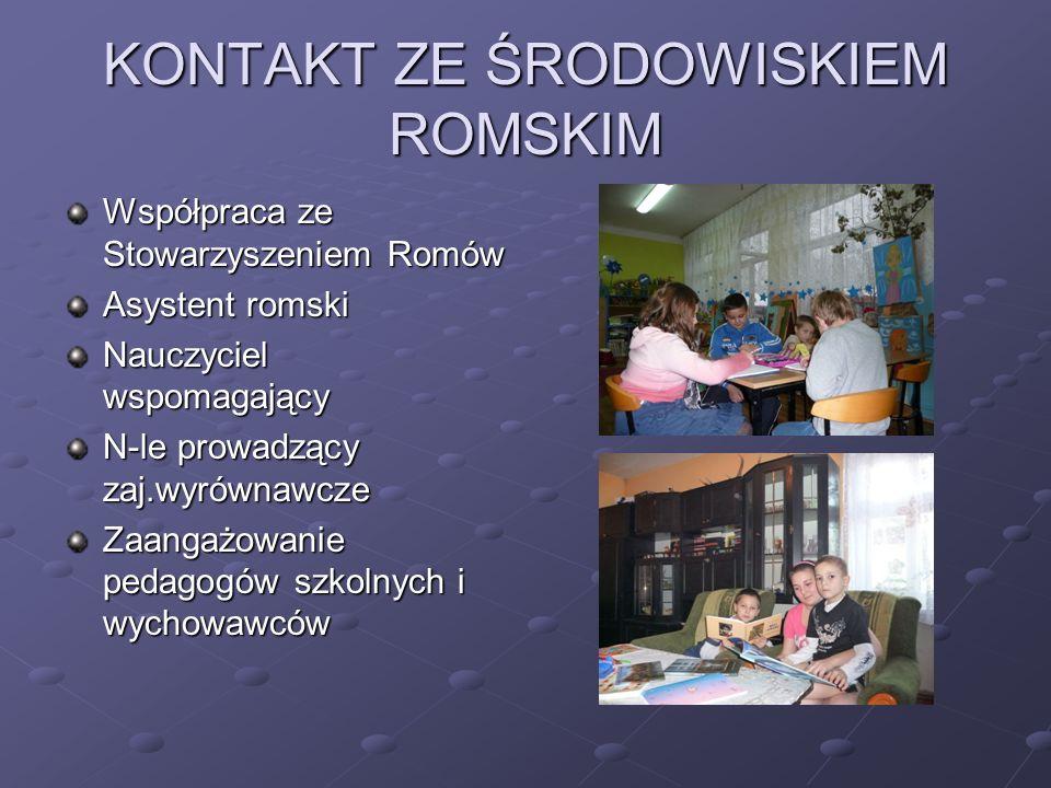 KONTAKT ZE ŚRODOWISKIEM ROMSKIM Współpraca ze Stowarzyszeniem Romów Asystent romski Nauczyciel wspomagający N-le prowadzący zaj.wyrównawcze Zaangażowa