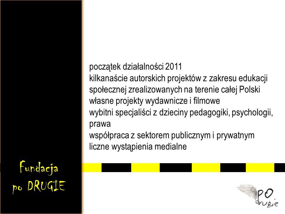 początek działalności 2011 kilkanaście autorskich projektów z zakresu edukacji społecznej zrealizowanych na terenie całej Polski własne projekty wydawnicze i filmowe wybitni specjaliści z dzieciny pedagogiki, psychologii, prawa współpraca z sektorem publicznym i prywatnym liczne wystąpienia medialne Fundacja po DRUGIE