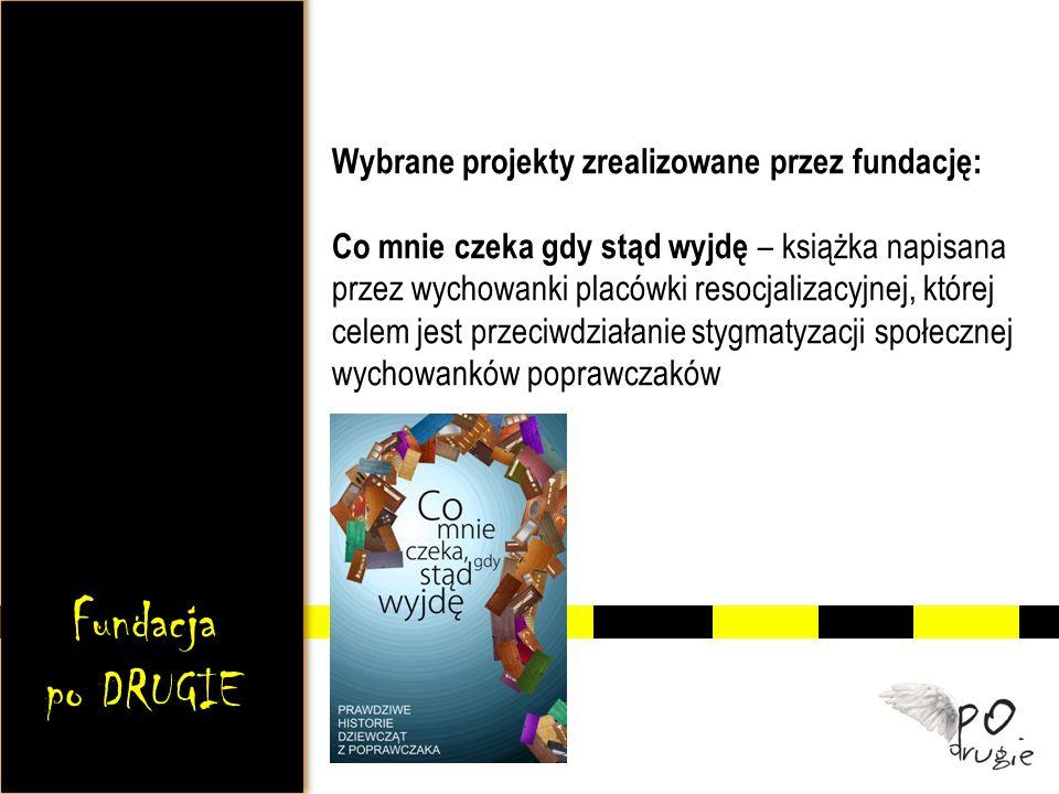 Wybrane projekty zrealizowane przez fundację: Co mnie czeka gdy stąd wyjdę – książka napisana przez wychowanki placówki resocjalizacyjnej, której celem jest przeciwdziałanie stygmatyzacji społecznej wychowanków poprawczaków Fundacja po DRUGIE