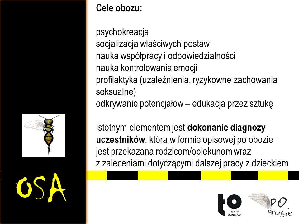 OSA Cele obozu: psychokreacja socjalizacja właściwych postaw nauka współpracy i odpowiedzialności nauka kontrolowania emocji profilaktyka (uzależnieni