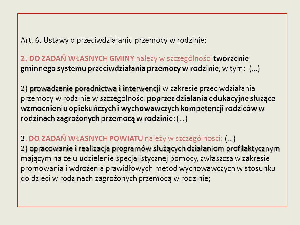 prowadzenie poradnictwa i interwencji ) opracowanie i realizacja programów służących działaniom profilaktycznym Art. 6. Ustawy o przeciwdziałaniu prze