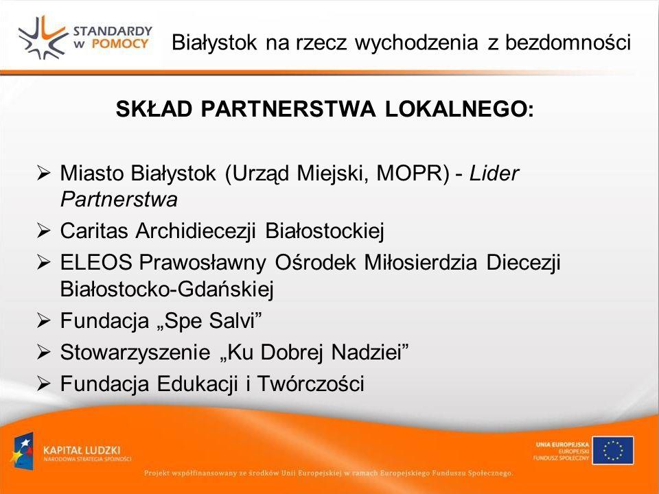 Białystok na rzecz wychodzenia z bezdomności SKŁAD PARTNERSTWA LOKALNEGO : Miasto Białystok (Urząd Miejski, MOPR) - Lider Partnerstwa Caritas Archidie