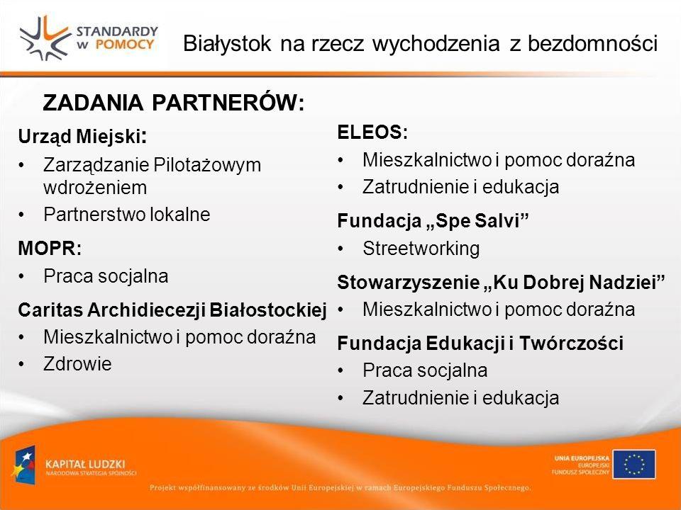Białystok na rzecz wychodzenia z bezdomności ZADANIA PARTNERÓW: Urząd Miejski : Zarządzanie Pilotażowym wdrożeniem Partnerstwo lokalne MOPR: Praca soc