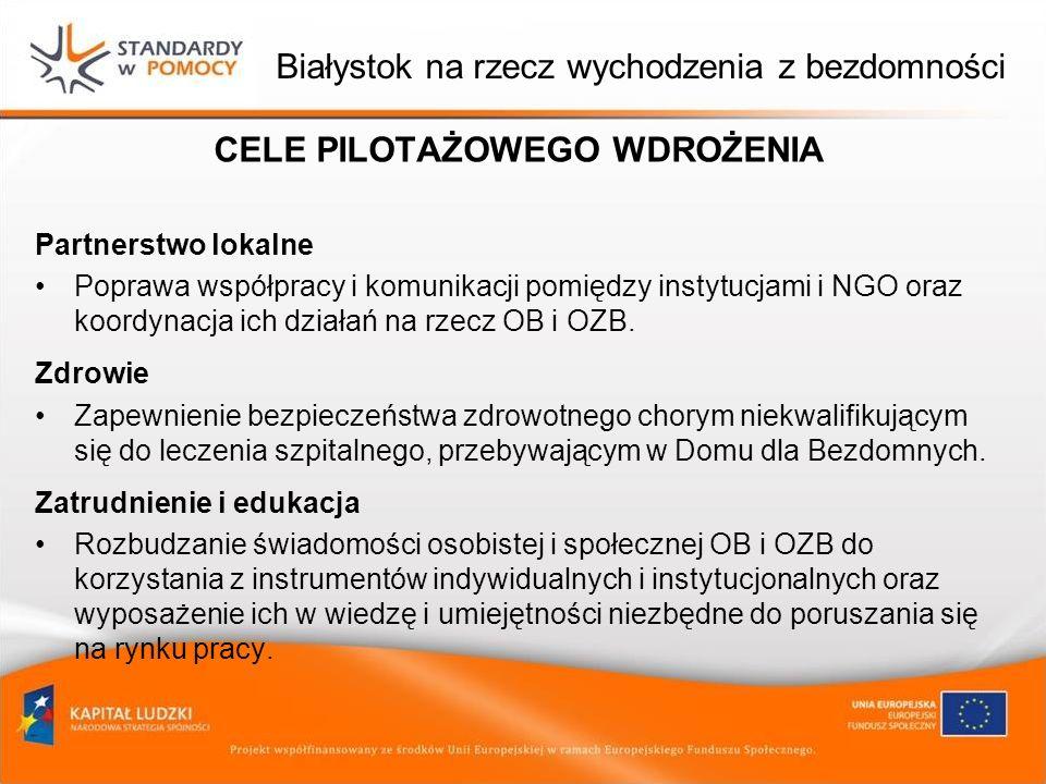 Białystok na rzecz wychodzenia z bezdomności CELE PILOTAŻOWEGO WDROŻENIA Partnerstwo lokalne Poprawa współpracy i komunikacji pomiędzy instytucjami i