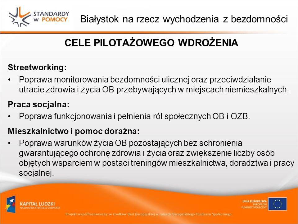 Białystok na rzecz wychodzenia z bezdomności CELE PILOTAŻOWEGO WDROŻENIA Streetworking: Poprawa monitorowania bezdomności ulicznej oraz przeciwdziałan