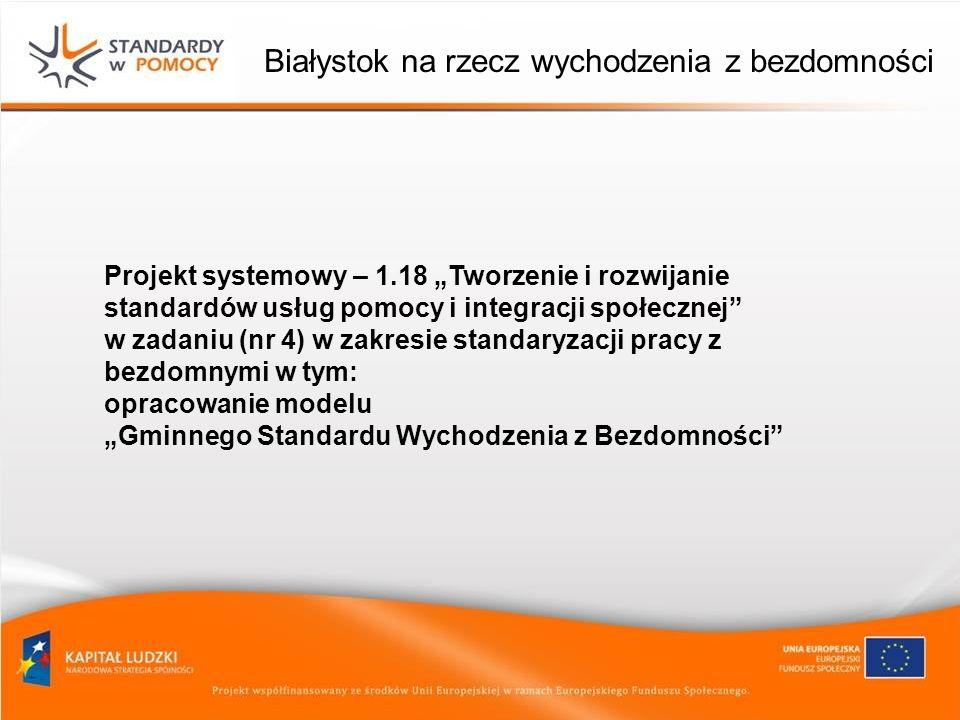 Białystok na rzecz wychodzenia z bezdomności Projekt systemowy – 1.18 Tworzenie i rozwijanie standardów usług pomocy i integracji społecznej w zadaniu