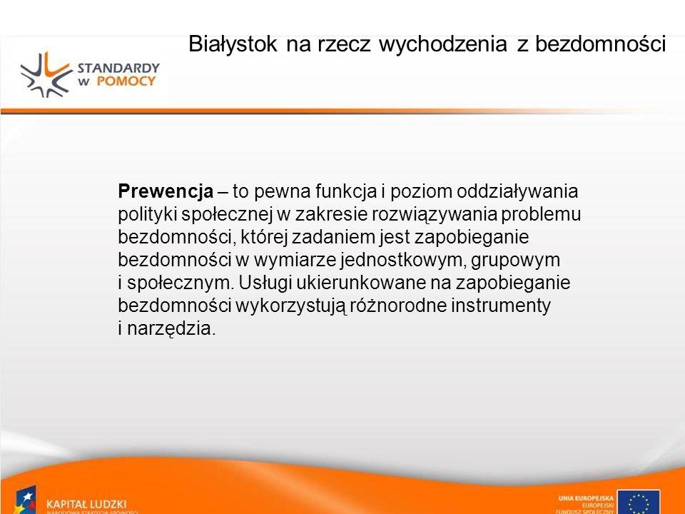 Białystok na rzecz wychodzenia z bezdomności Profilaktyka – odnosi się do całego społeczeństwa, celem jej jest zwiększenie wiedzy i świadomości w zakresie bezdomności i zagrożenia nią, a także redukowanie zagrożenia doświadczania problemów społecznych.