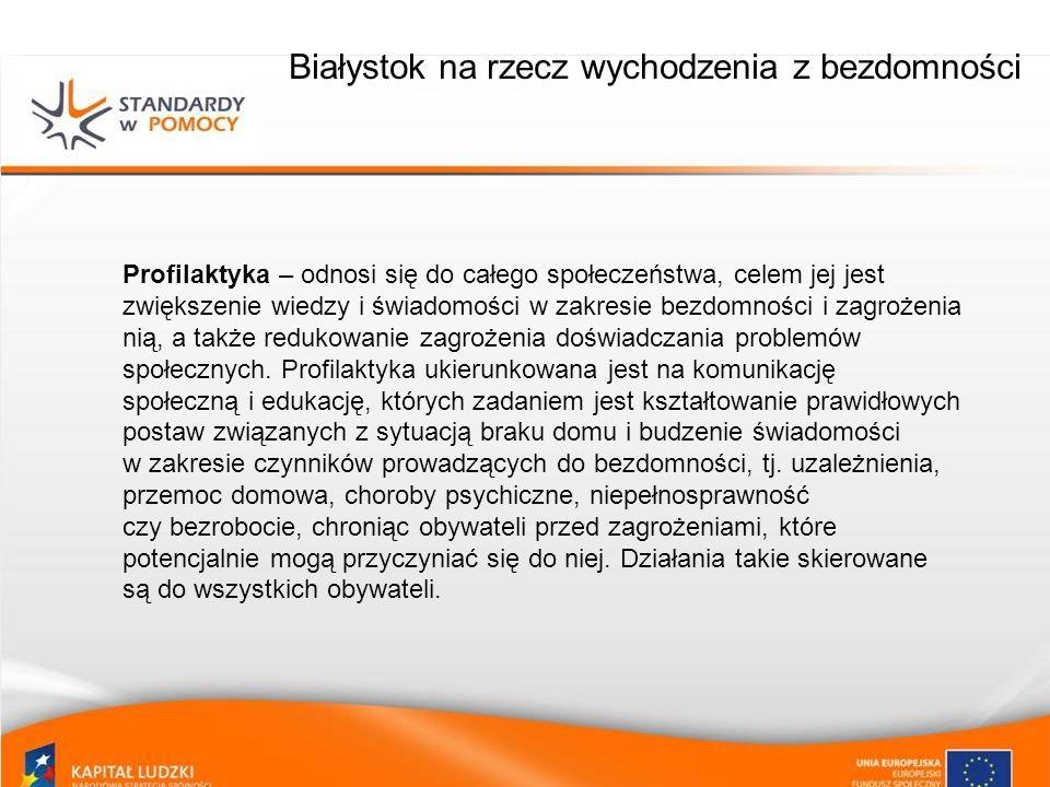 Białystok na rzecz wychodzenia z bezdomności Profilaktyka – odnosi się do całego społeczeństwa, celem jej jest zwiększenie wiedzy i świadomości w zakr