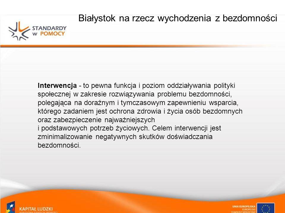 Białystok na rzecz wychodzenia z bezdomności Integracja – to pewna funkcja i poziom oddziaływania polityki społecznej w zakresie rozwiązywania problemu bezdomności, której zadaniem jest integracja społeczna osób lub grup doświadczających bezdomności oraz uzyskanie samodzielności życiowej w kilku sferach m.in.