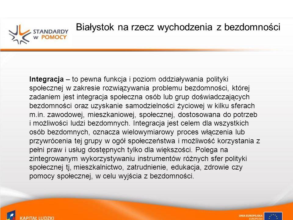 Białystok na rzecz wychodzenia z bezdomności Integracja – to pewna funkcja i poziom oddziaływania polityki społecznej w zakresie rozwiązywania problem