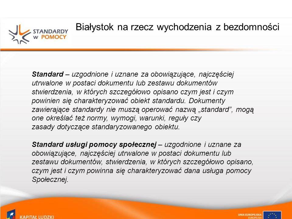 Białystok na rzecz wychodzenia z bezdomności Na Model GSWB składają się standardy usług skierowane do osób bezdomnych i zagrożonych bezdomnością w następujących obszarach: Streetworkingu Pracy socjalnej Mieszkalnictwa i pomocy doraźnej Partnerstw lokalnych Zdrowia Zatrudnienia i edukacji www.standardypomocy.pl