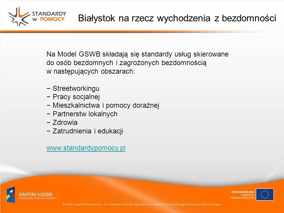 Białystok na rzecz wychodzenia z bezdomności Na Model GSWB składają się standardy usług skierowane do osób bezdomnych i zagrożonych bezdomnością w nas