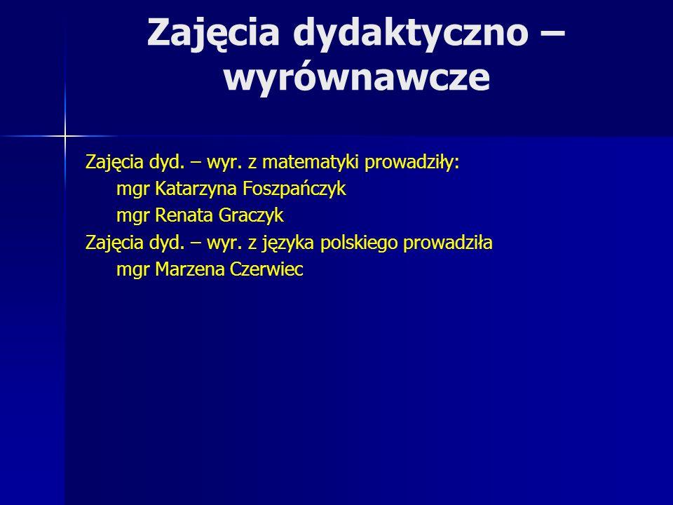 Zajęcia dydaktyczno – wyrównawcze Zajęcia dyd. – wyr. z matematyki prowadziły: mgr Katarzyna Foszpańczyk mgr Renata Graczyk Zajęcia dyd. – wyr. z języ