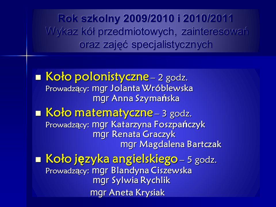 Koło polonistyczne – 2 godz. Prowadz ą cy : mgr Jolanta Wróblewska mgr Anna Szyma ń ska Koło polonistyczne – 2 godz. Prowadz ą cy : mgr Jolanta Wróble