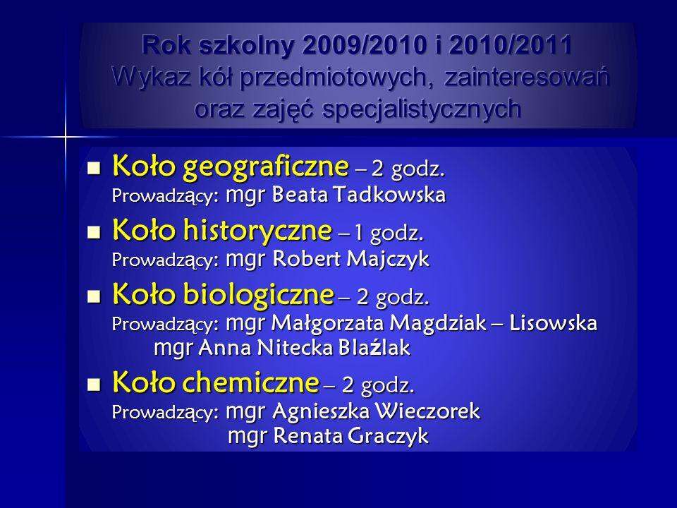 Koło geograficzne – 2 godz. Prowadz ą cy : mgr Beata Tadkowska Koło geograficzne – 2 godz. Prowadz ą cy : mgr Beata Tadkowska Koło historyczne – 1 god