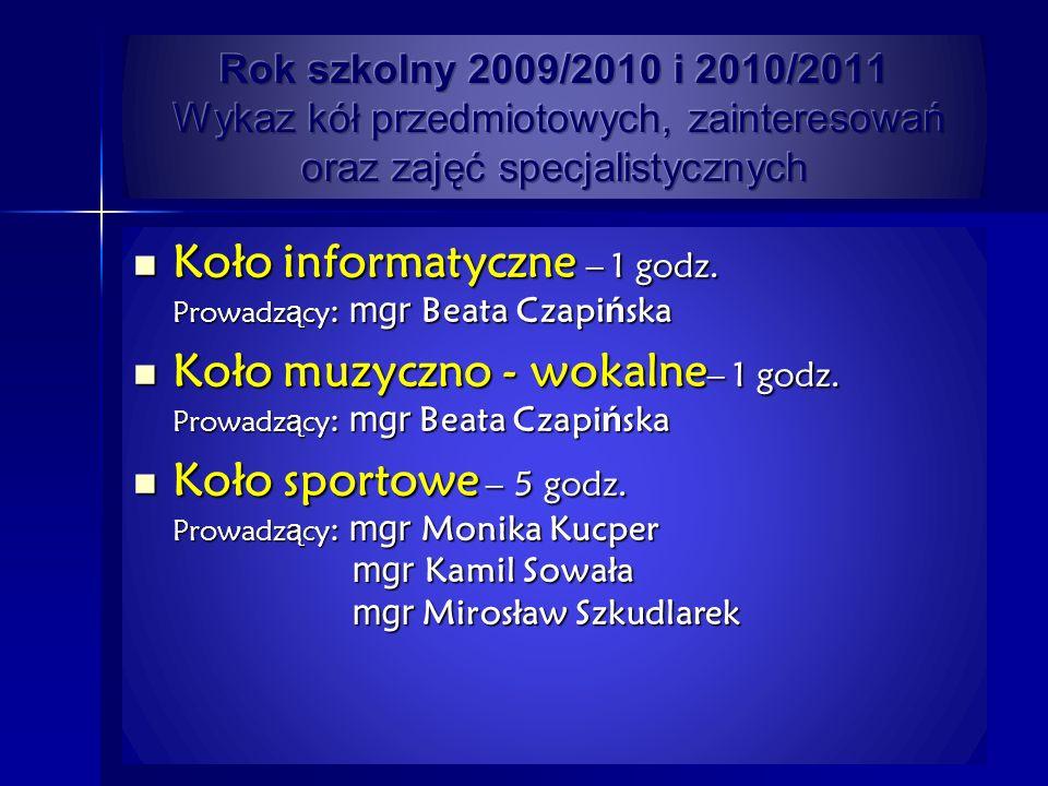 Koło informatyczne – 1 godz.Prowadz ą cy : mgr Beata Czapi ń ska Koło informatyczne – 1 godz.