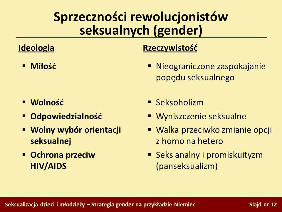 Sprzeczności rewolucjonistów seksualnych (gender) Slajd nr 12 Seksualizacja dzieci i młodzieży – Strategia gender na przykładzie Niemiec Ideologia Rze