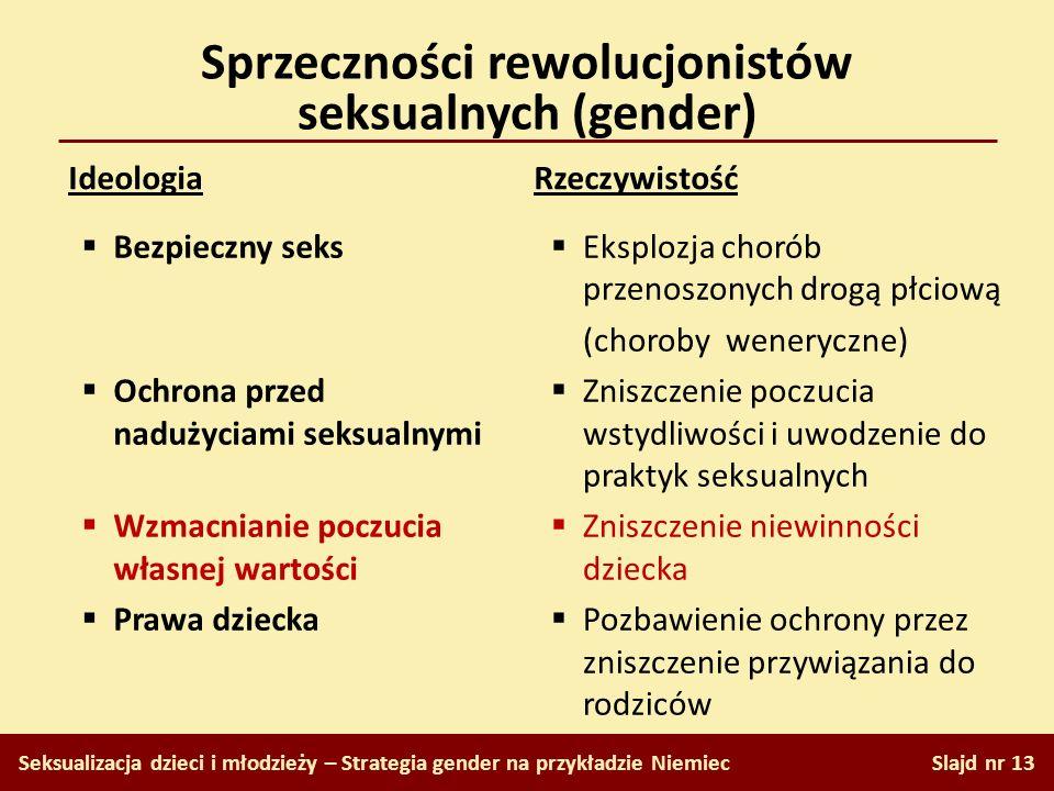 Sprzeczności rewolucjonistów seksualnych (gender) Slajd nr 13 Seksualizacja dzieci i młodzieży – Strategia gender na przykładzie Niemiec Ideologia Rze