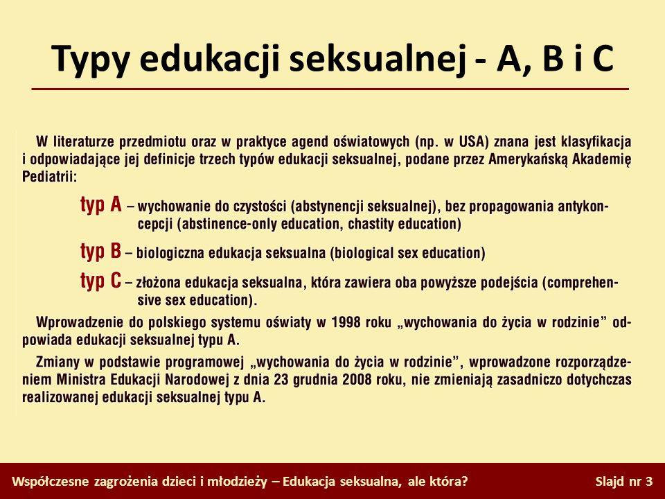 Typy edukacji seksualnej - A, B i C Współczesne zagrożenia dzieci i młodzieży – Edukacja seksualna, ale która? Slajd nr 3
