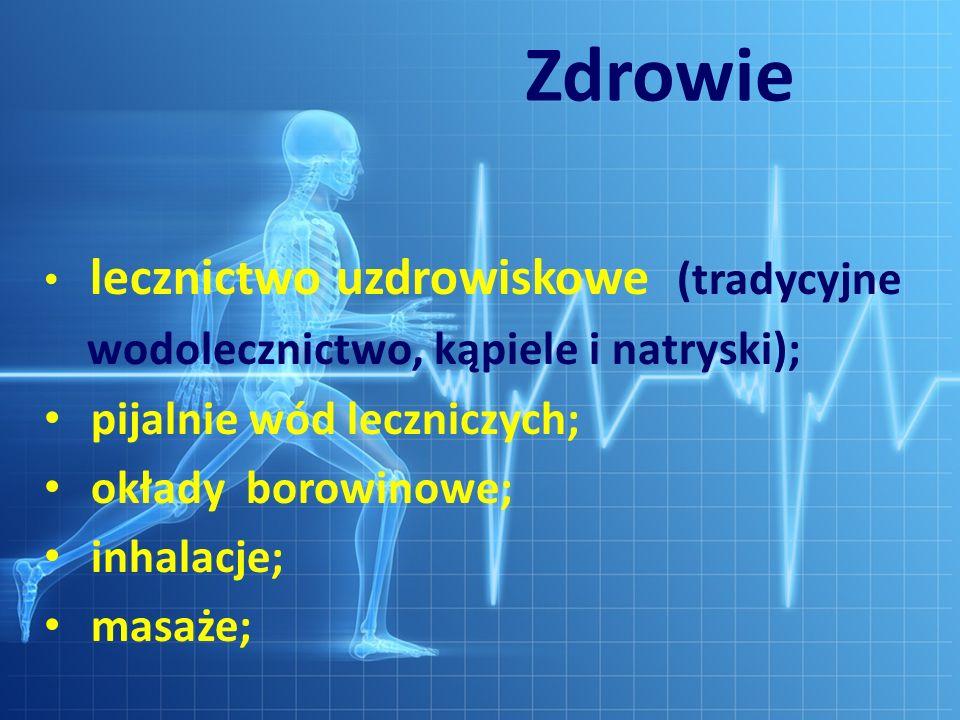 Zdrowie lecznictwo uzdrowiskowe (tradycyjne wodolecznictwo, kąpiele i natryski); pijalnie wód leczniczych; okłady borowinowe; inhalacje; masaże;
