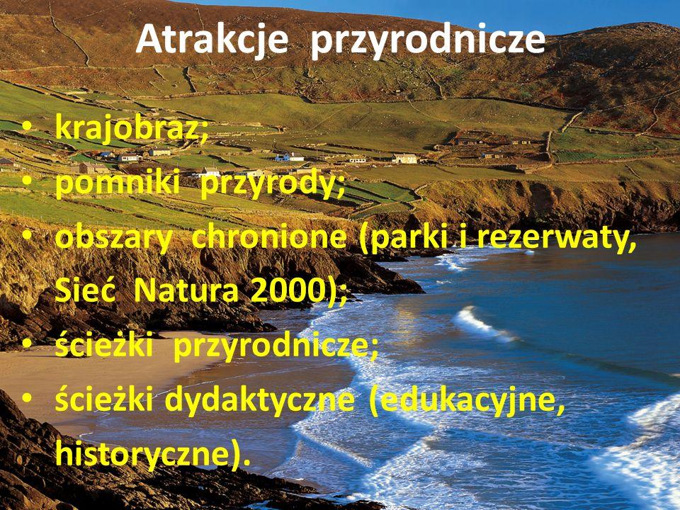 Atrakcje przyrodnicze krajobraz; pomniki przyrody; obszary chronione (parki i rezerwaty, Sieć Natura 2000); ścieżki przyrodnicze; ścieżki dydaktyczne