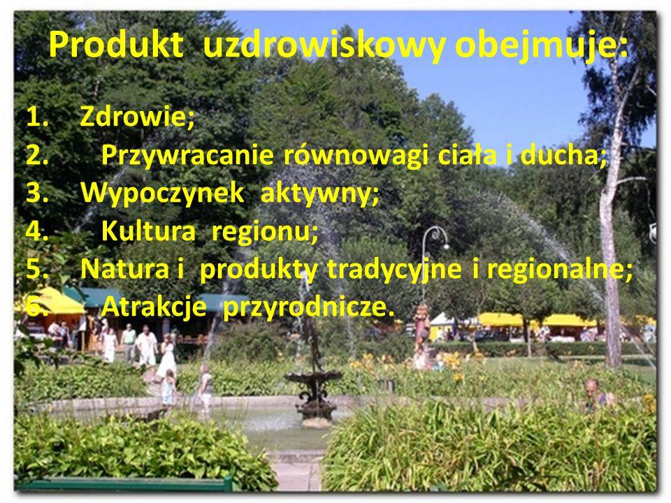 Produkt uzdrowiskowy obejmuje: 1.Zdrowie; 2. Przywracanie równowagi ciała i ducha; 3.Wypoczynek aktywny; 4. Kultura regionu; 5.Natura i produkty trady