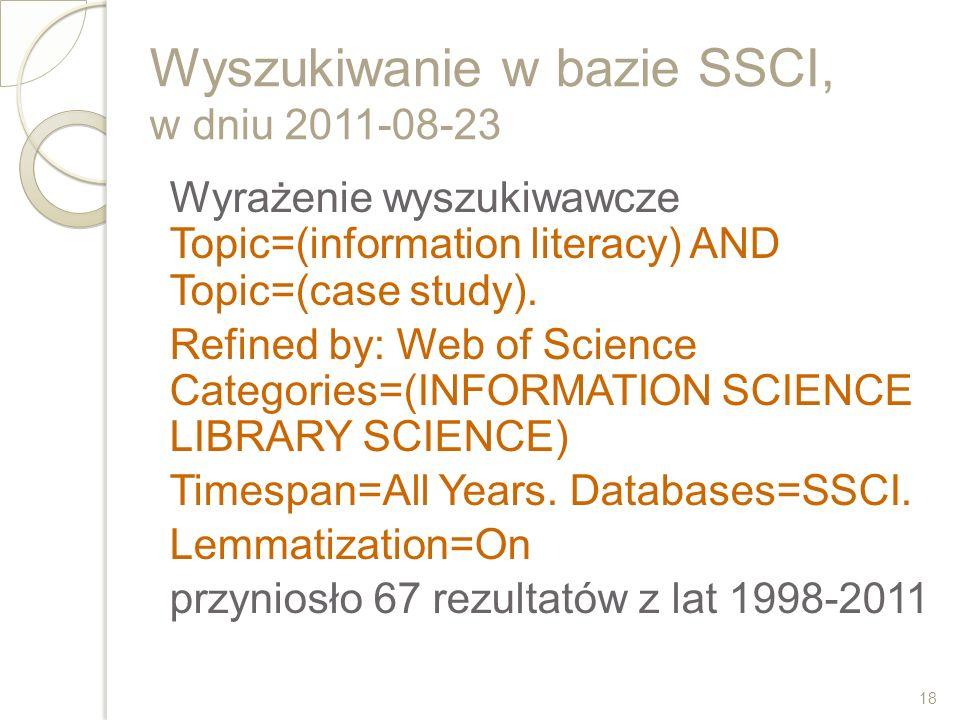 Wyszukiwanie w bazie SSCI, w dniu 2011-08-23 Wyrażenie wyszukiwawcze Topic=(information literacy) AND Topic=(case study). Refined by: Web of Science C