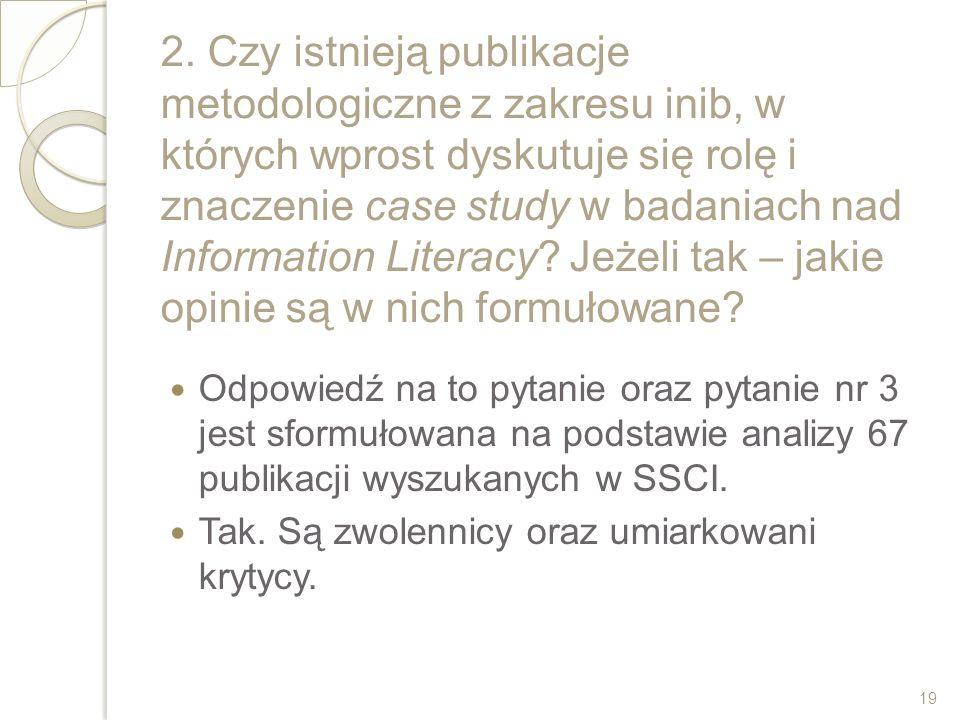 2. Czy istnieją publikacje metodologiczne z zakresu inib, w których wprost dyskutuje się rolę i znaczenie case study w badaniach nad Information Liter