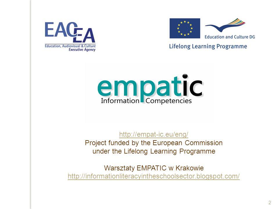 Struktura prezentacji Pytania badawcze Pojęcia Information Literacy Studium przypadku Studium przypadku w dziedzinie Information Literacy – wyniki badań własnych Studium przypadku w projekcie EMPATIC Uwagi końcowe 3