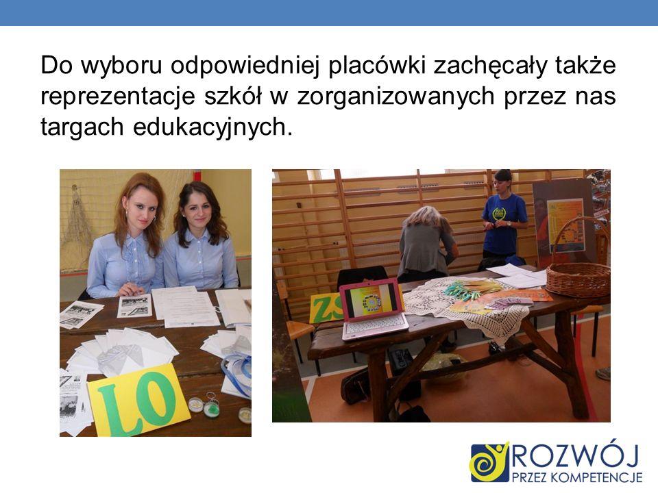 Do wyboru odpowiedniej placówki zachęcały także reprezentacje szkół w zorganizowanych przez nas targach edukacyjnych.