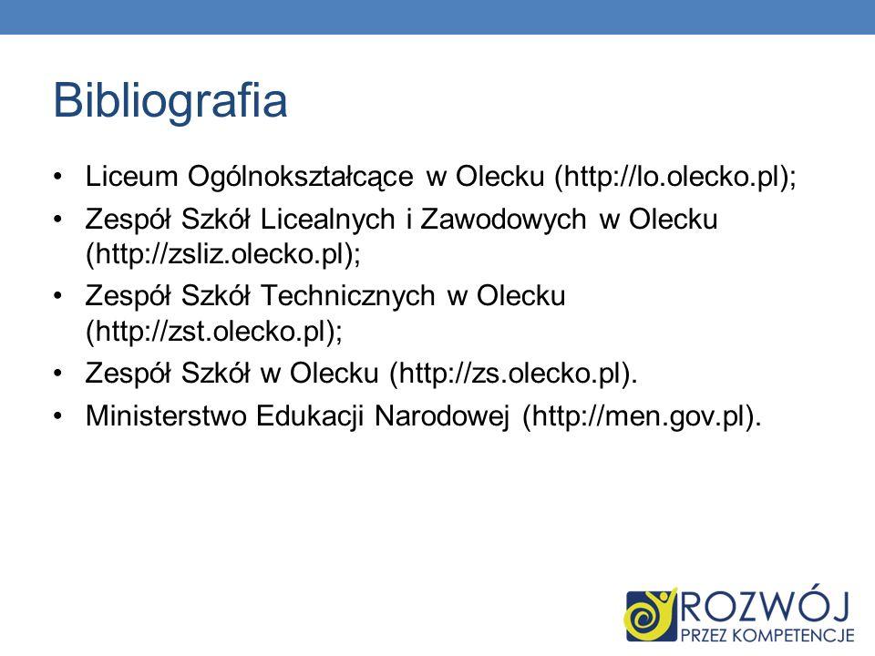 Bibliografia Liceum Ogólnokształcące w Olecku (http://lo.olecko.pl); Zespół Szkół Licealnych i Zawodowych w Olecku (http://zsliz.olecko.pl); Zespół Sz