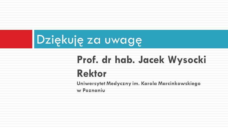 Prof. dr hab. Jacek Wysocki Rektor Uniwersytet Medyczny im. Karola Marcinkowskiego w Poznaniu Dziękuję za uwagę