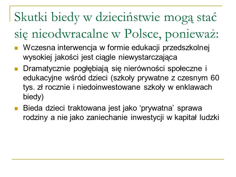 Skutki biedy w dzieciństwie mogą stać się nieodwracalne w Polsce, ponieważ: Wczesna interwencja w formie edukacji przedszkolnej wysokiej jakości jest ciągle niewystarczająca Dramatycznie pogłębiają się nierówności społeczne i edukacyjne wśród dzieci (szkoły prywatne z czesnym 60 tys.