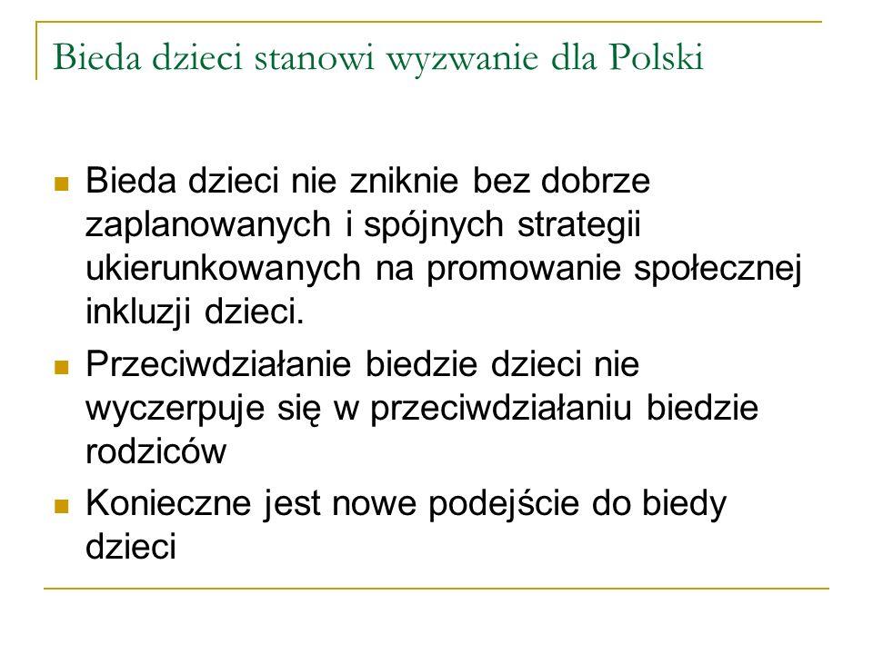 Bieda dzieci stanowi wyzwanie dla Polski Bieda dzieci nie zniknie bez dobrze zaplanowanych i spójnych strategii ukierunkowanych na promowanie społecznej inkluzji dzieci.