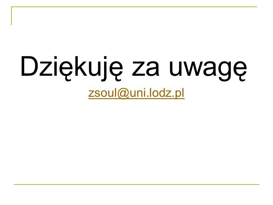 Dziękuję za uwagę zsoul@uni.lodz.pl