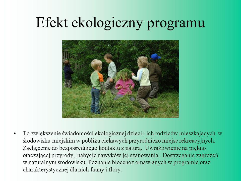 Efekt ekologiczny programu To zwiększenie świadomości ekologicznej dzieci i ich rodziców mieszkających w środowisku miejskim w pobliżu ciekawych przyr