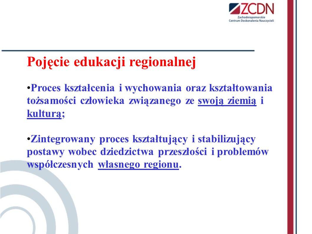 Pojęcie edukacji regionalnej Proces kształcenia i wychowania oraz kształtowania tożsamości człowieka związanego ze swoją ziemią i kulturą; Zintegrowan