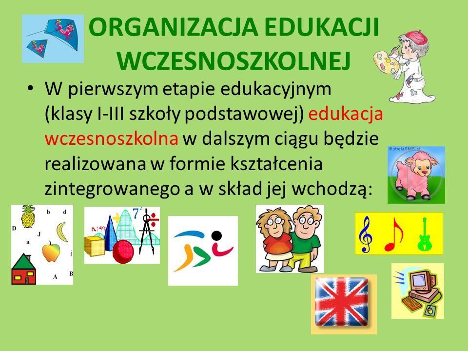 W pierwszym etapie edukacyjnym (klasy I-III szkoły podstawowej) edukacja wczesnoszkolna w dalszym ciągu będzie realizowana w formie kształcenia zintegrowanego a w skład jej wchodzą: ORGANIZACJA EDUKACJI WCZESNOSZKOLNEJ