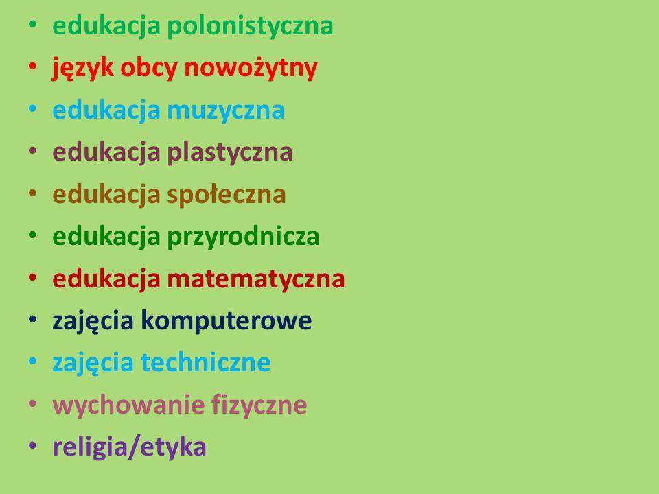 edukacja polonistyczna język obcy nowożytny edukacja muzyczna edukacja plastyczna edukacja społeczna edukacja przyrodnicza edukacja matematyczna zajęcia komputerowe zajęcia techniczne wychowanie fizyczne religia/etyka