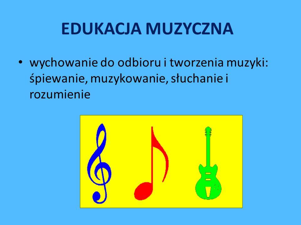 EDUKACJA MUZYCZNA wychowanie do odbioru i tworzenia muzyki: śpiewanie, muzykowanie, słuchanie i rozumienie