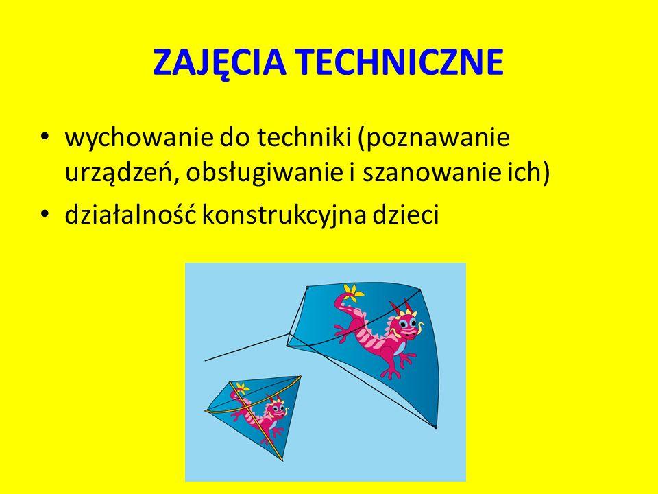 ZAJĘCIA TECHNICZNE wychowanie do techniki (poznawanie urządzeń, obsługiwanie i szanowanie ich) działalność konstrukcyjna dzieci
