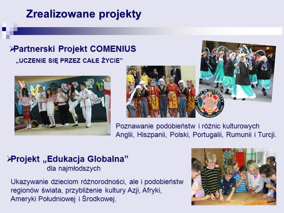 Partnerski Projekt COMENIUS Partnerski Projekt COMENIUS UCZENIE SIĘ PRZEZ CAŁE ŻYCIE Zrealizowane projekty Poznawanie podobieństw i różnic kulturowych Anglii, Hiszpanii, Polski, Portugalii, Rumunii i Turcji.