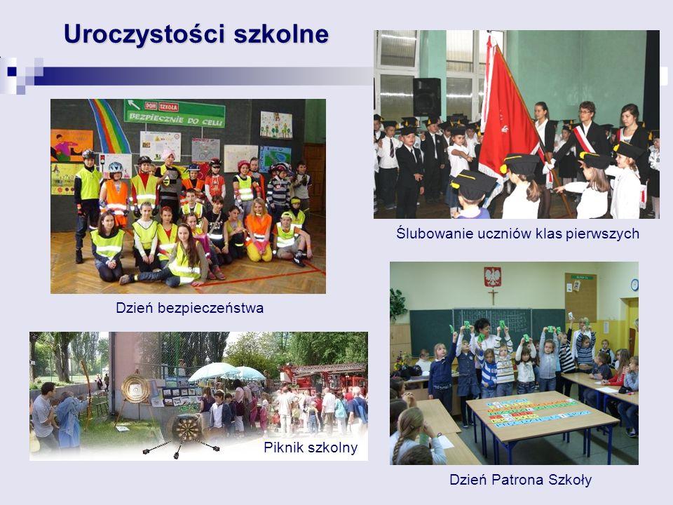 Uroczystości szkolne Ślubowanie uczniów klas pierwszych Dzień bezpieczeństwa Dzień Patrona Szkoły Piknik szkolny