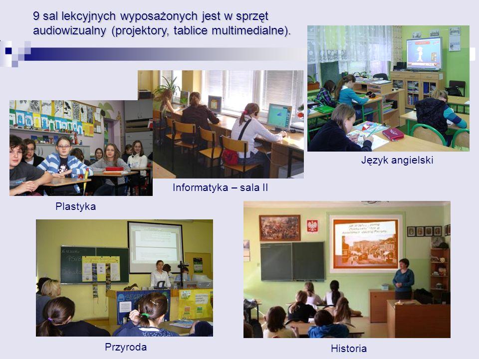 Przyroda 9 sal lekcyjnych wyposażonych jest w sprzęt audiowizualny (projektory, tablice multimedialne). Informatyka – sala II Język angielski Historia
