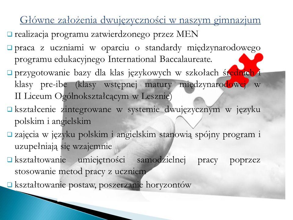 Główne założenia dwujęzyczności w naszym gimnazjum realizacja programu zatwierdzonego przez MEN praca z uczniami w oparciu o standardy międzynarodowego programu edukacyjnego International Baccalaureate.