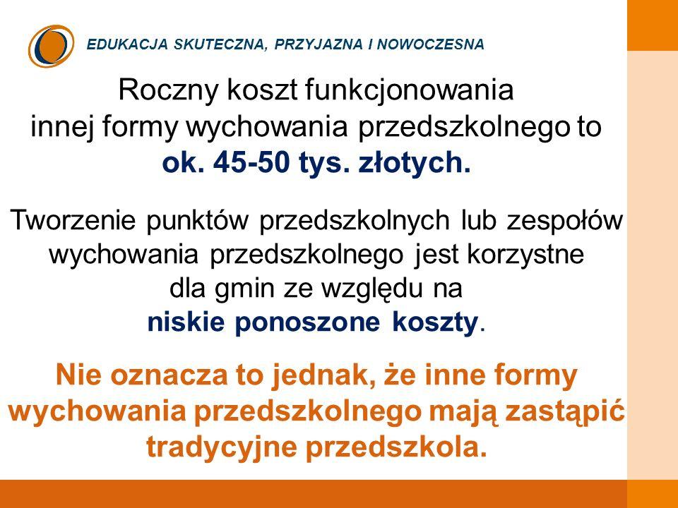 Roczny koszt funkcjonowania innej formy wychowania przedszkolnego to ok. 45-50 tys. złotych. Tworzenie punktów przedszkolnych lub zespołów wychowania