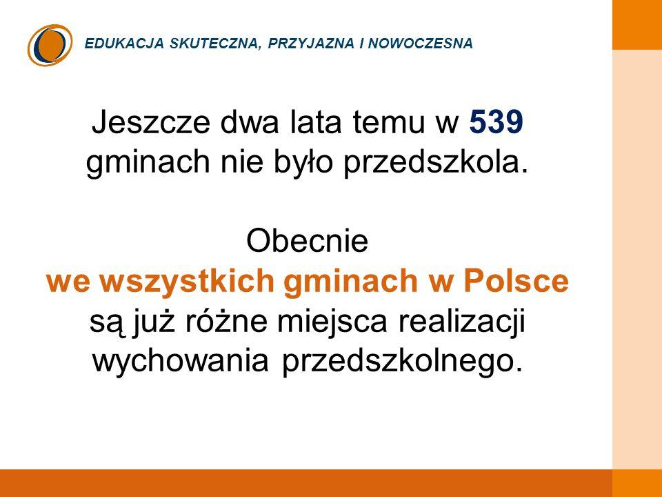 EDUKACJA SKUTECZNA, PRZYJAZNA I NOWOCZESNA Jeszcze dwa lata temu w 539 gminach nie było przedszkola. Obecnie we wszystkich gminach w Polsce są już róż