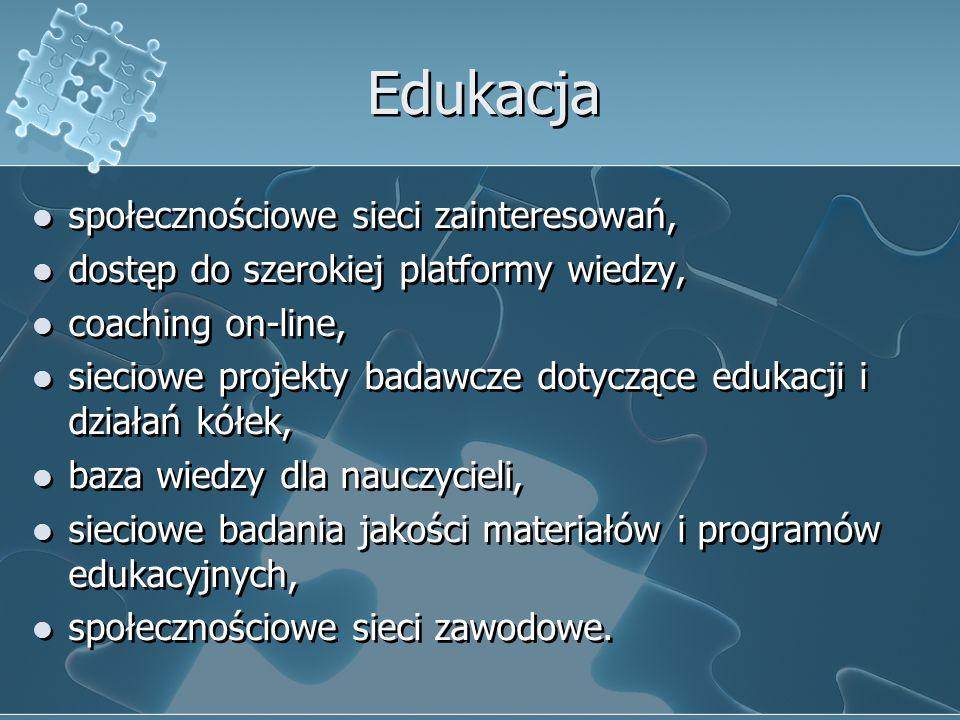Edukacja społecznościowe sieci zainteresowań, dostęp do szerokiej platformy wiedzy, coaching on-line, sieciowe projekty badawcze dotyczące edukacji i działań kółek, baza wiedzy dla nauczycieli, sieciowe badania jakości materiałów i programów edukacyjnych, społecznościowe sieci zawodowe.